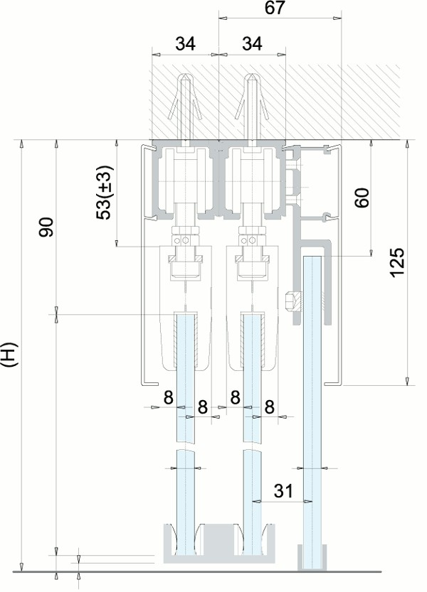 Схема раздвижной перегородки