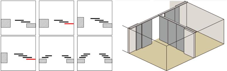 Схемы открывания для раздвижных дверей.